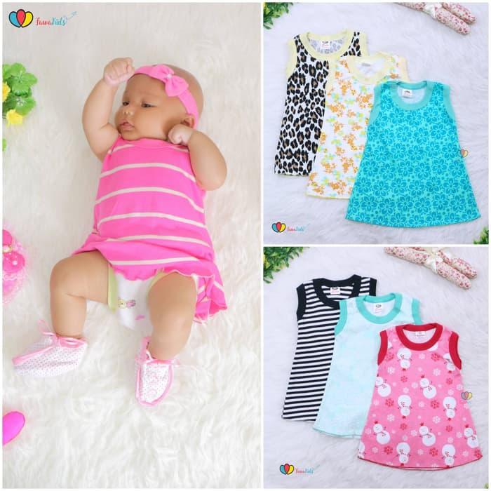 Harga Promo Isi 3 Pc Daster Yukensi Bayi Uk 0 12 Bulan Dress Baby Baju Kaos