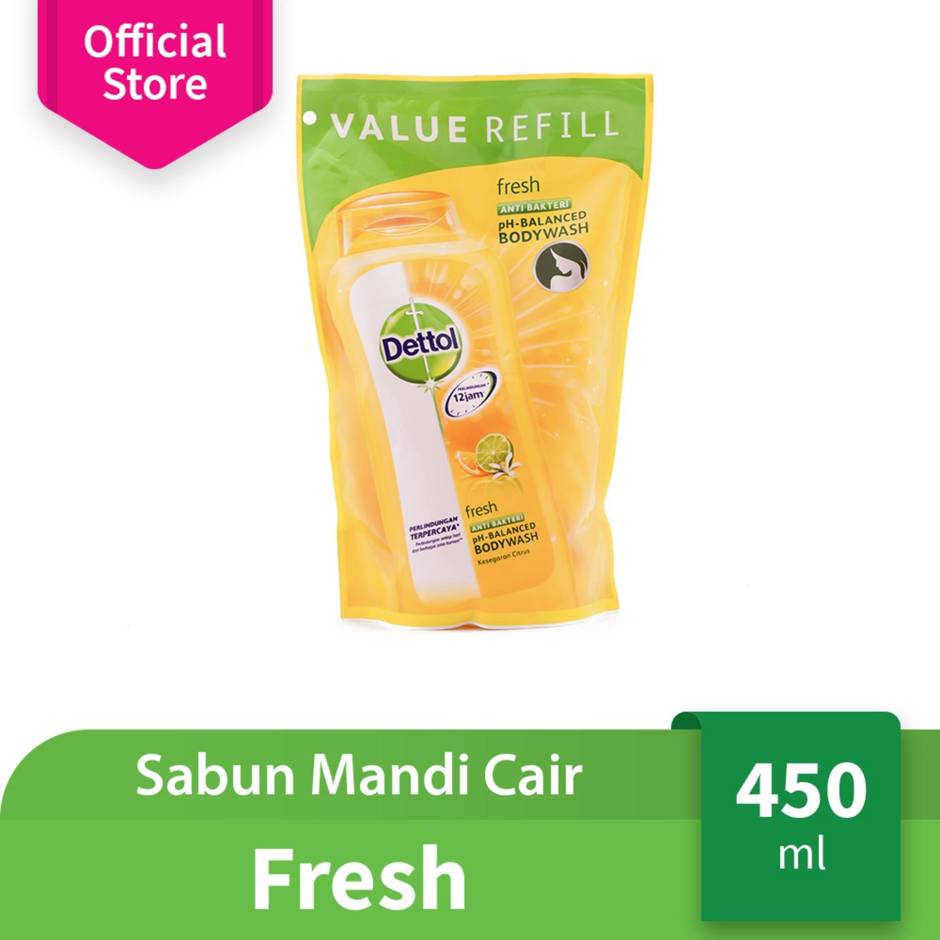 Dettol Sabun Mandi Cair Fresh - Pouch - 450ml - Body Wash Anti Kuman