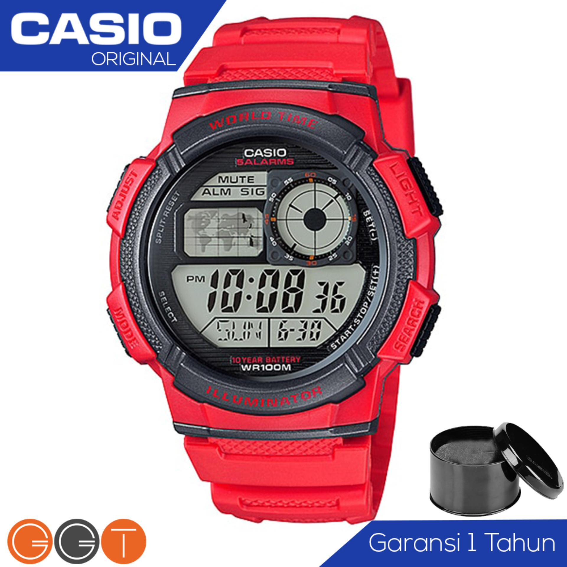 CASIO Illuminator AE-1000W-4AVDF - Jam Tangan Pria - Tali Karet - Digital Movement - Red