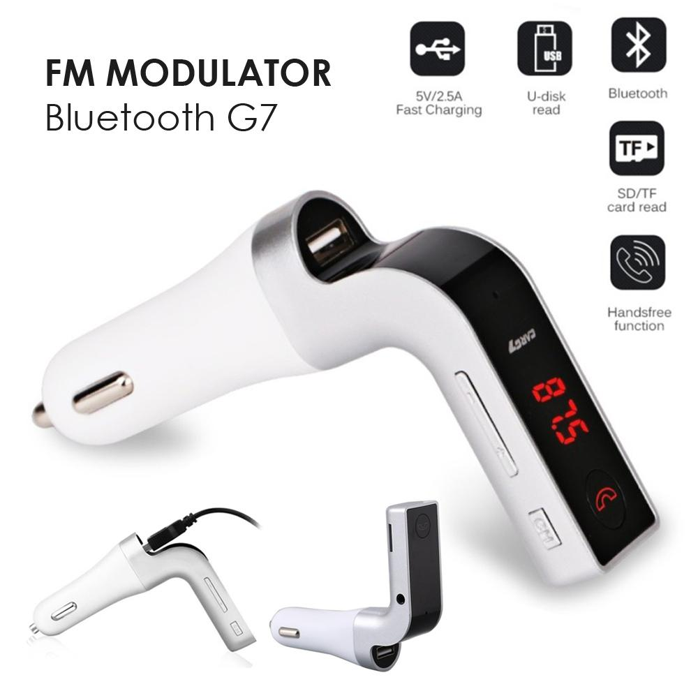 Car G7 FM Modulator Bluetooth with Car Charger Support Handsfree