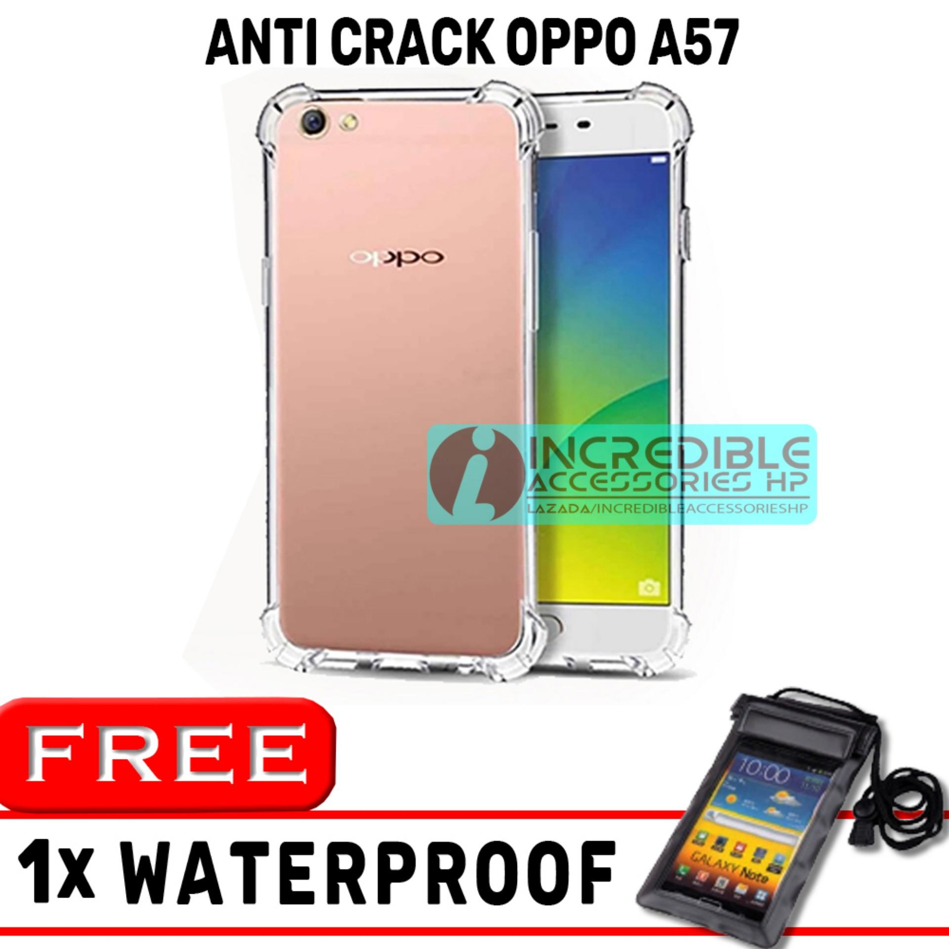 Anti Crack for Oppo A57 Softcase Elegant Anti Shock Jelly Case - Bening + Free Waterproof