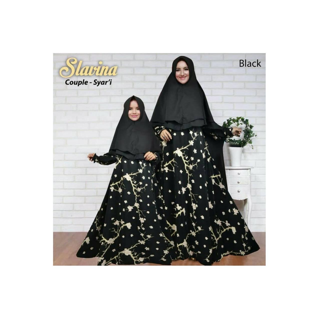 gamis syari couple slavina black murah / baju setelan ibu anak muslim