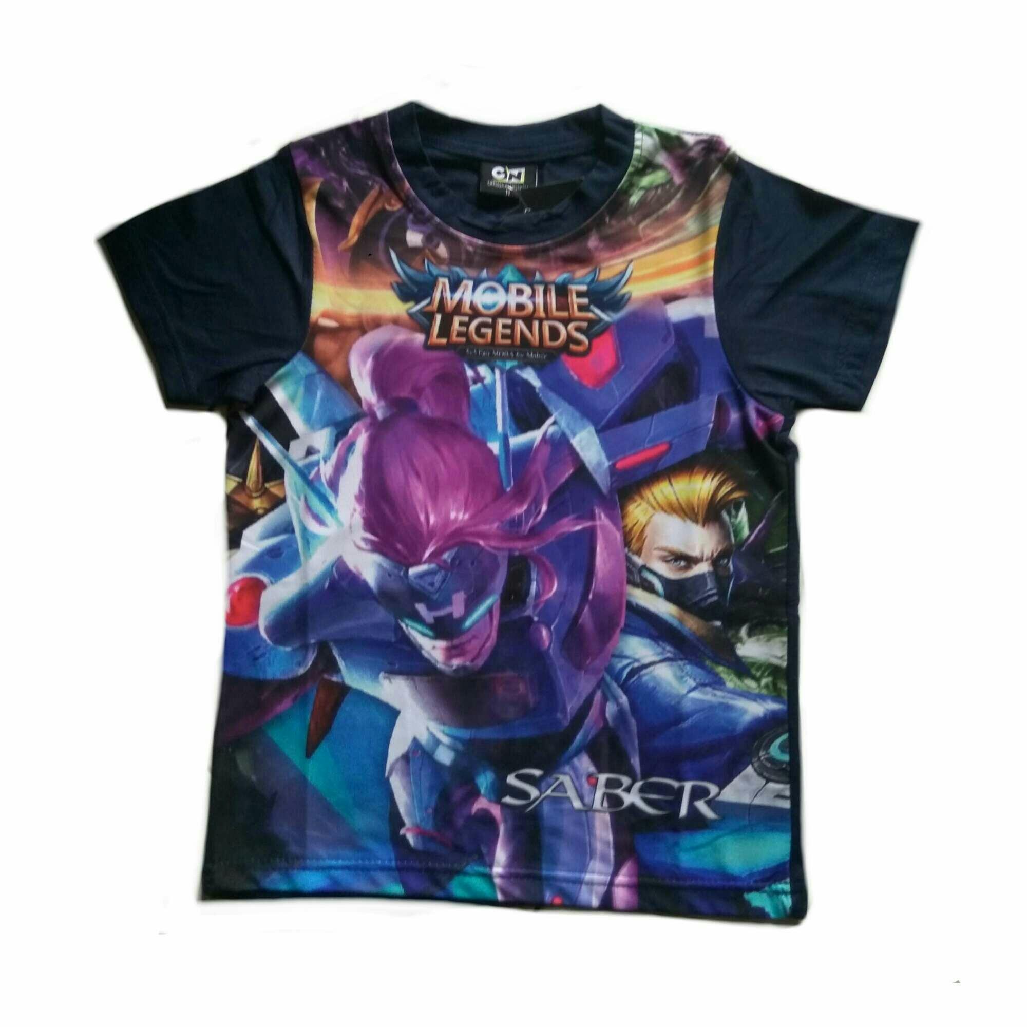 T-shirt / baju / kaos anak mobile legends atasan bahan spandex - saber hayabusa