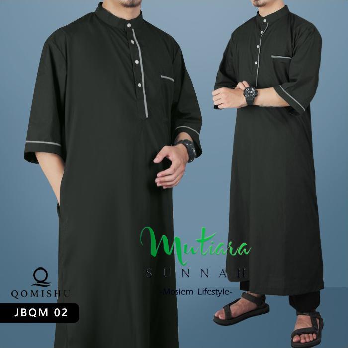 Gamis Muslim Pria  Gamis Lengan Pendek Jubah Pria  Baju Muslim Pria Gamis Pria JBQM 02