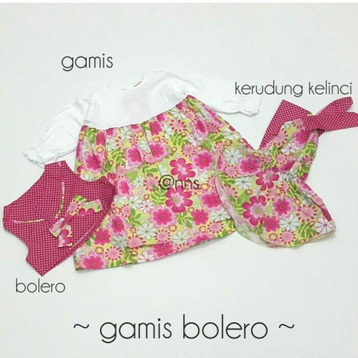 Gamis Anak Bunga Cardigan includ jilbab La Petite Baju Anak 1 2 tahun Bayi Cewek Perempuan