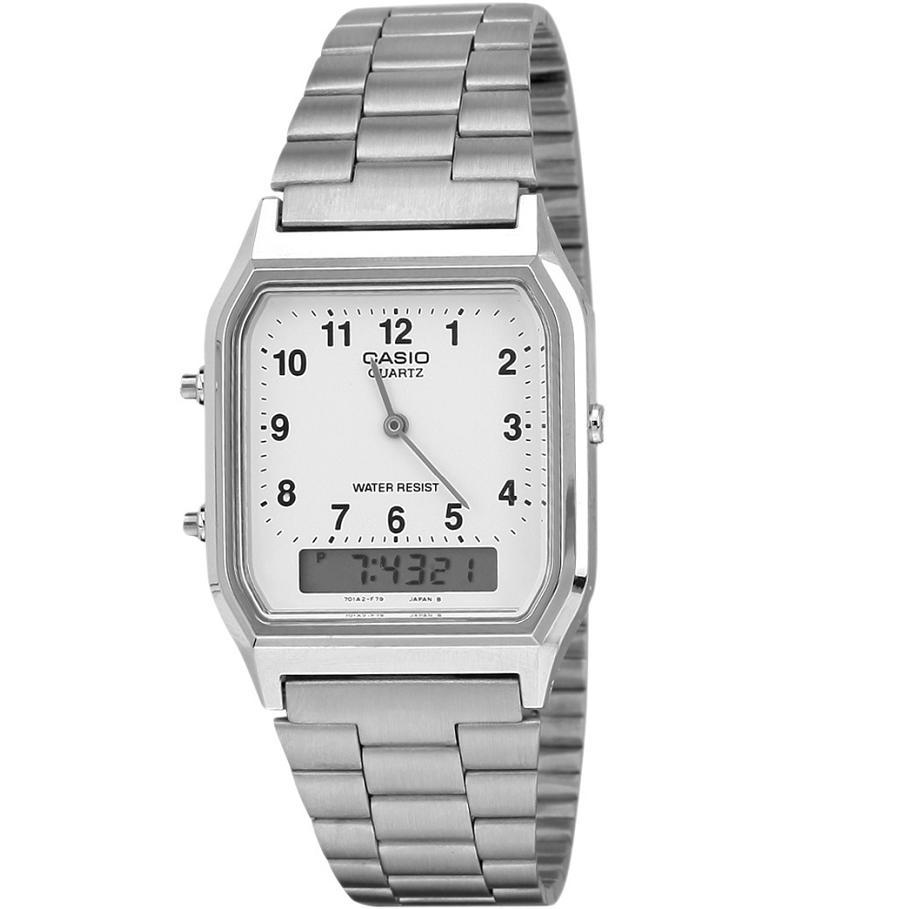 CASIO AQ-230A-7BMQ - Vintage Series - Analog-Digital - Square Shape - Dual Time - Jam Tangan Unisex - Bahan Tali Stainless Steel - Silver - White Dial