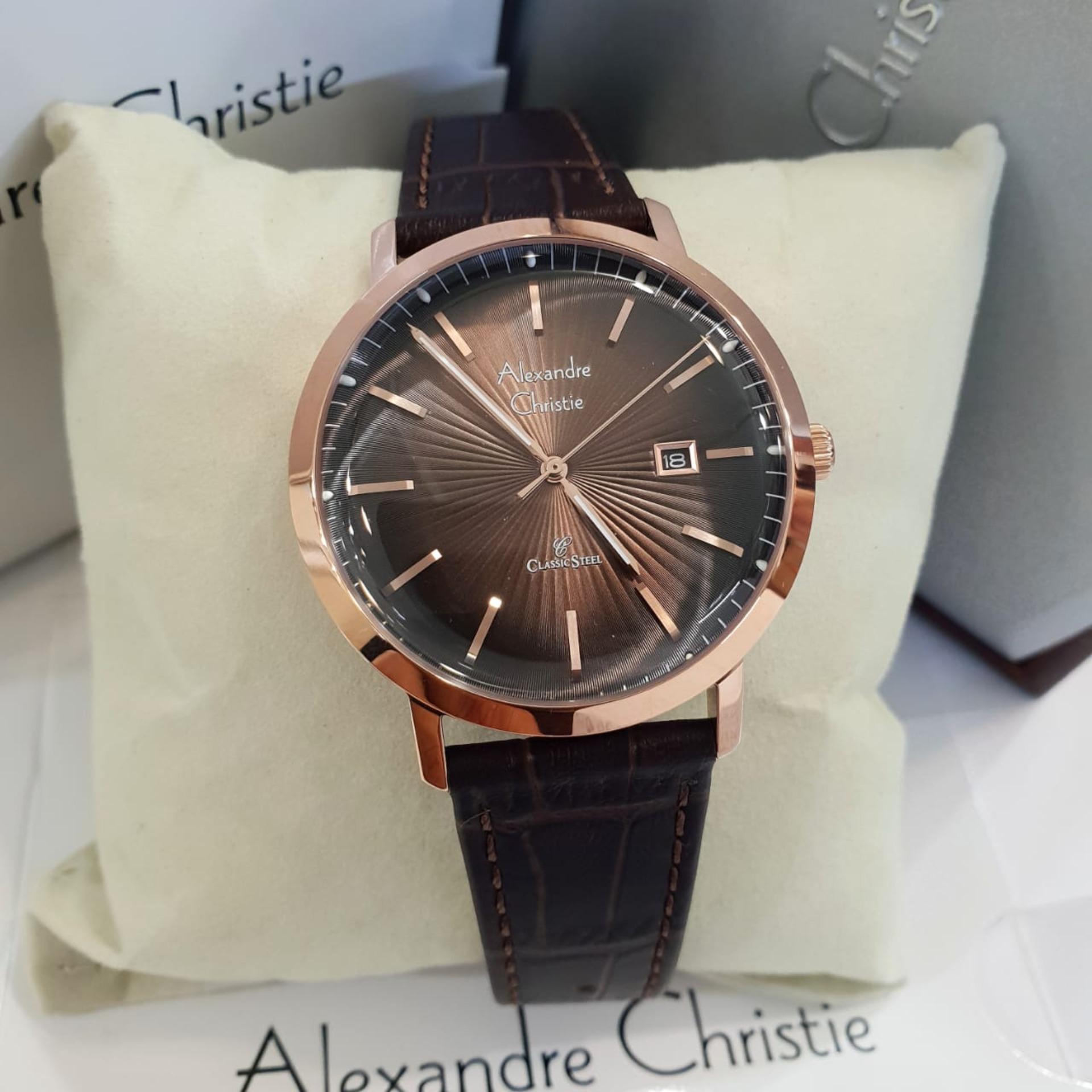 Alexandre Christie AC8581 Original Jam Tangan Unisex Stainless Leather Coklat Rosegold