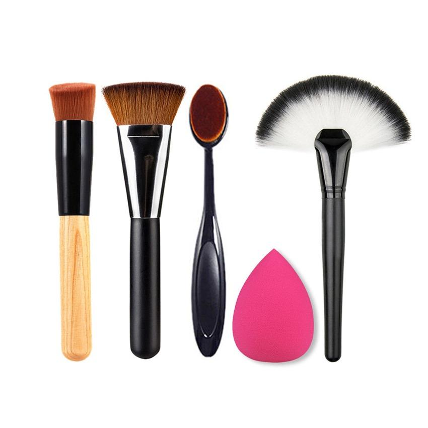 Skytop Set Perlengkapan Makeup Travel 5 in 1 Makeup Set Brush Makeup Brush Foundation Contour Brush Base Brush Oblique Brush Sponge Puff