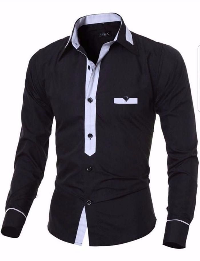 Azure Hem Wilson Baju Kerja Formal Pria Lengan Panjang Atasan Kemeja Polos Slimfit Hitam Putih Maroon