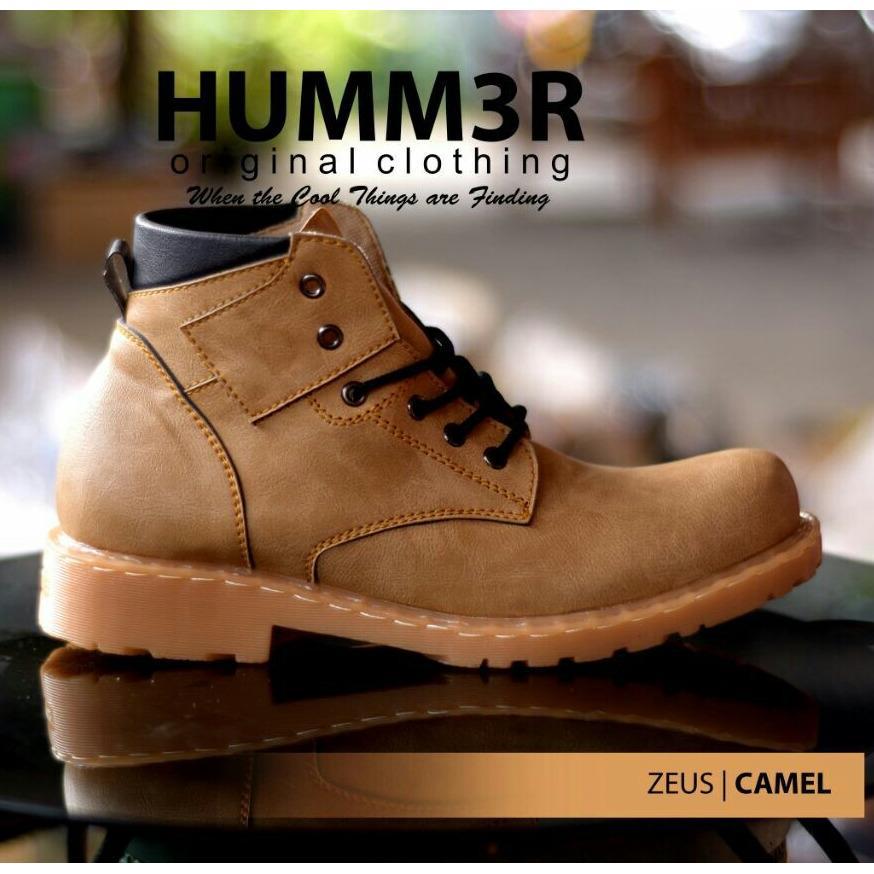 Sepatu Pria Boots Semi Formal / Kasual Sole Heels Original - HUMM3R ZEUS 02 - Army / Tan / Cream / Camel