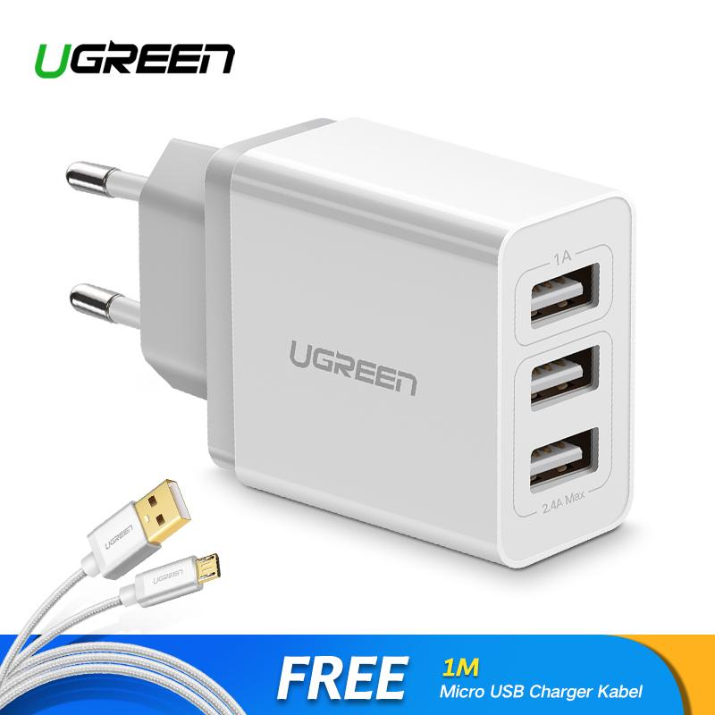UGREEN 3 Ports Charger USB Charger for Samsung Xiaomi Redmi Apple iPhone LG ASUS, VIVO, OPPO Handphone HP Charger + Free 1Meter Micro USB Kabel Fast Charging Kabel for handphone