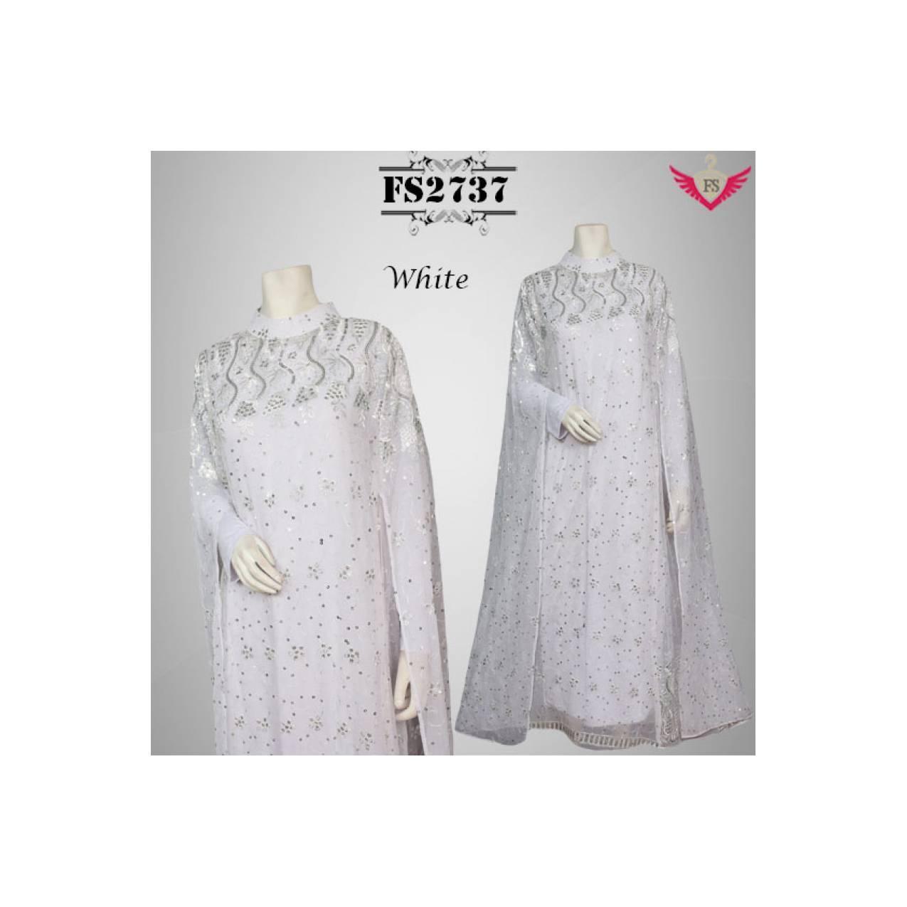 jumbo Gamis Umroh Putih Mewah Full Bahan Sari India Glitter Premium