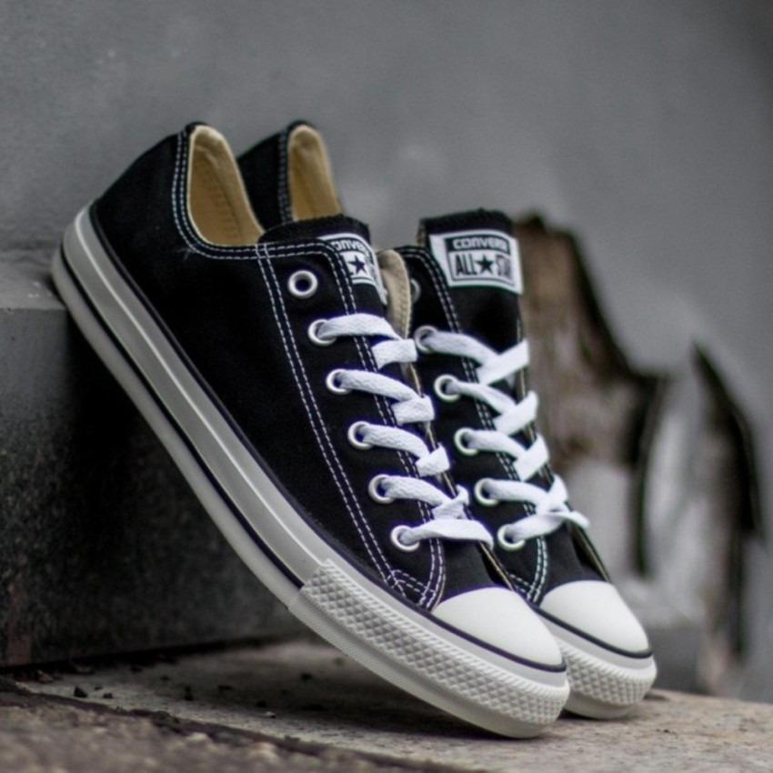 Sepatu sneakers Converse all star Classic Canvas LowCut Unisex-BLACK
