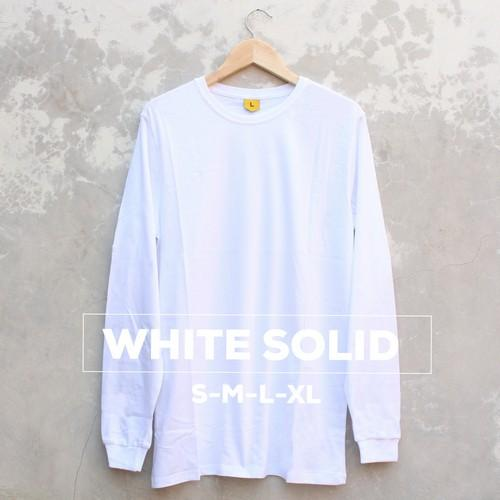 Baju Kaos Polos Pria Wanita 100% Cotton Combed 30S Lengan Panjang High Quality Warna WHITE