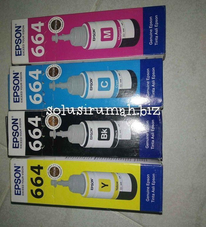 TINTA EPSON 664 GENUINE EPSON biru cyan c blue 220 l310 printer ink