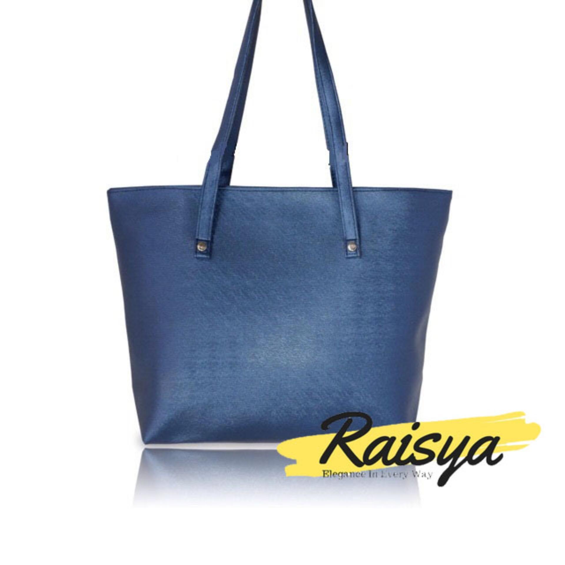 Raisya Tas Fashion New Tote Bag Kulit Polos - Navy