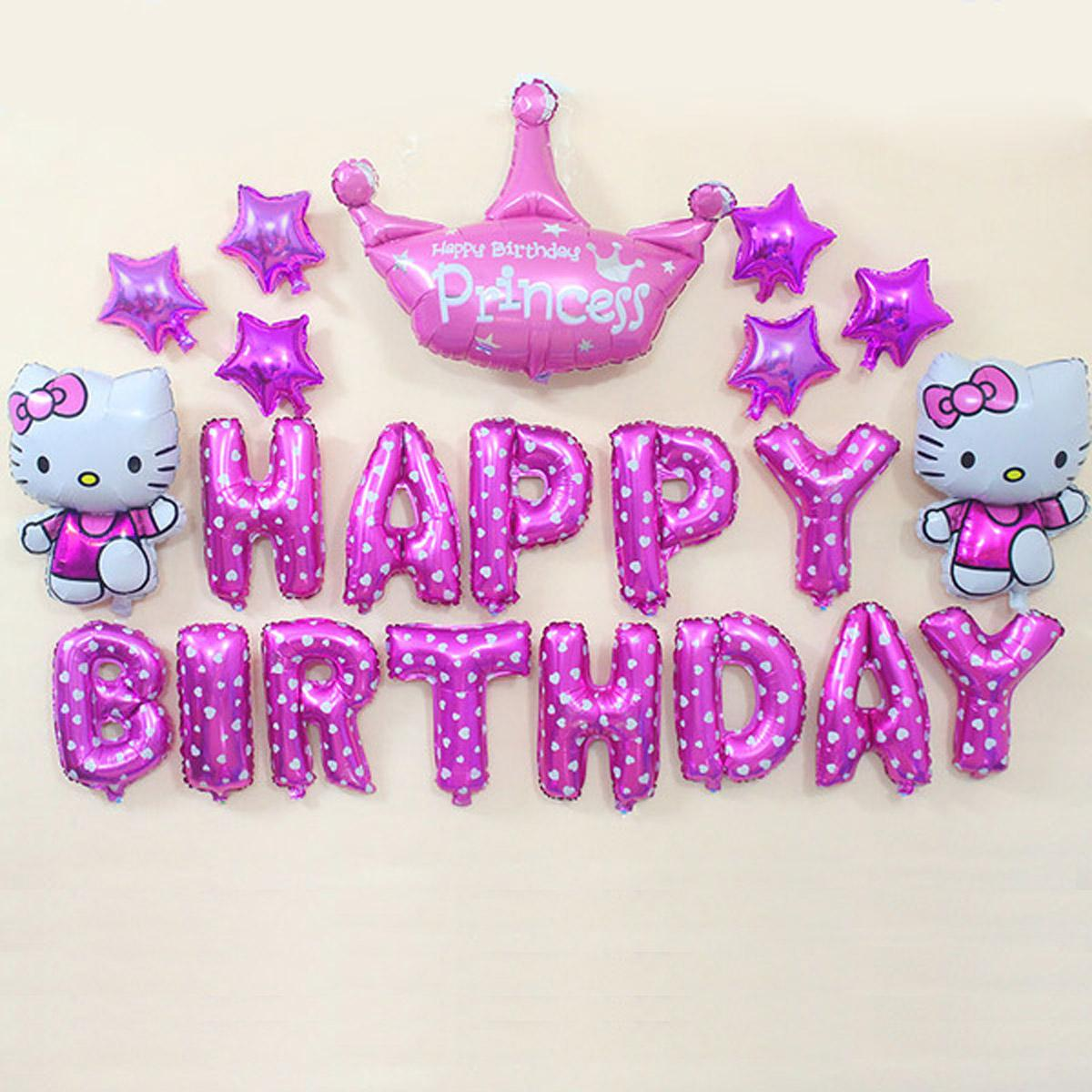 Balonasia Balon Foil Set Happy Birthday Hello Kitty Pink