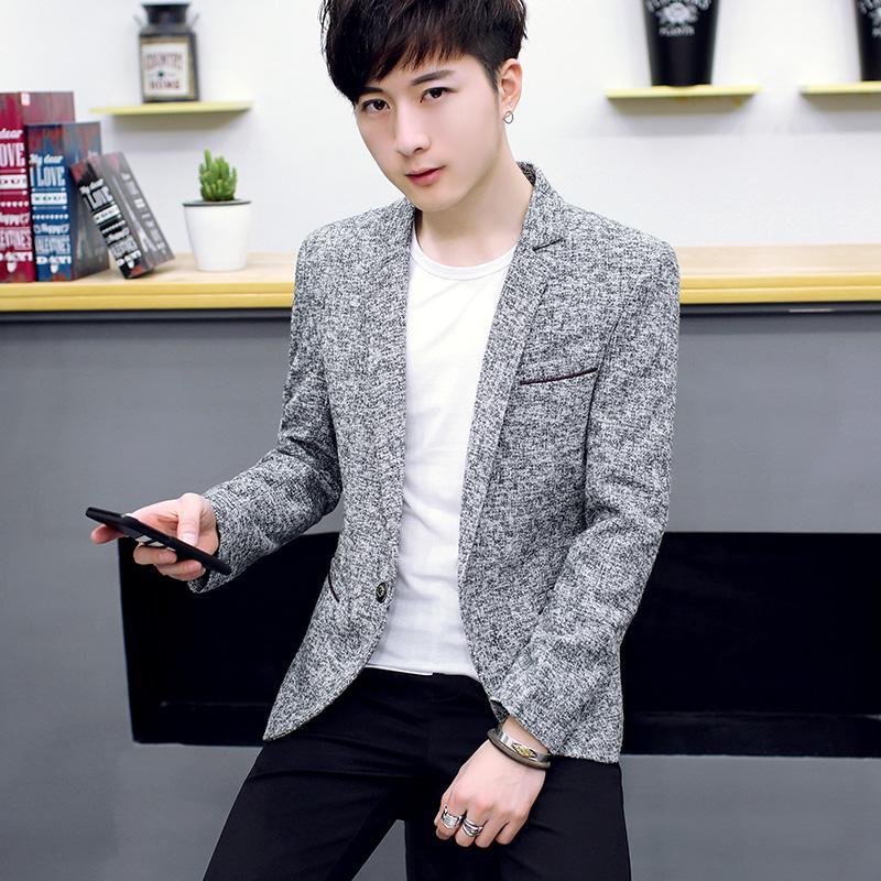 Jas kasual pria Jaket musim gugur 2018 model baru Gaya Korea Tren membentuk tubuh Setelan jas