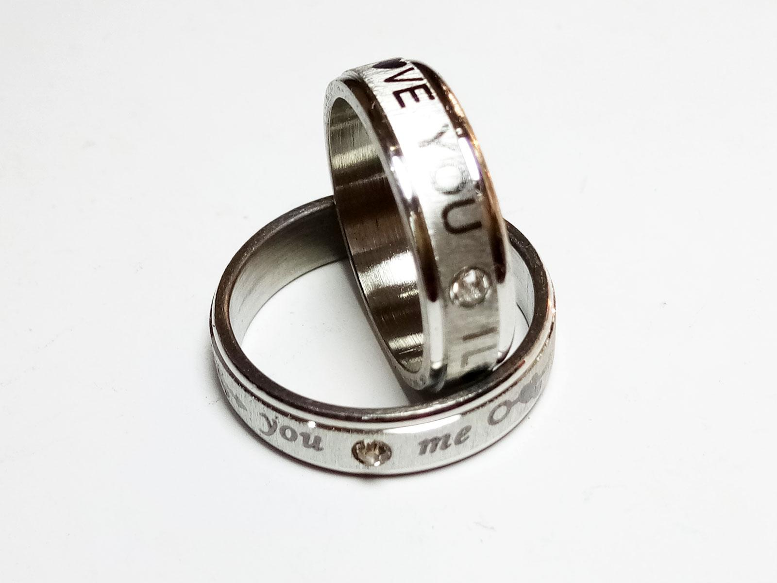 VeE Cincin Single / Couple / Pasangan untuk Tunangan / Nikahan Titanium Stainless Steel Silver Love
