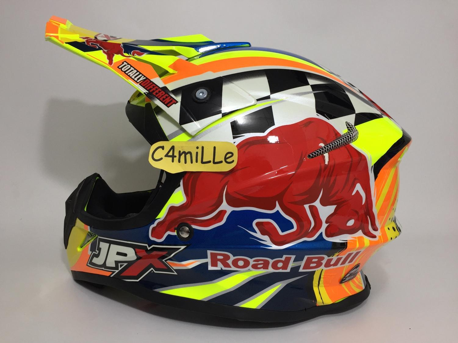 HELM JPX CROSS X8 ROAD BULL FLUORESCENT YELLOW GLOSS ORANGE TRAIL SUPER CROSS