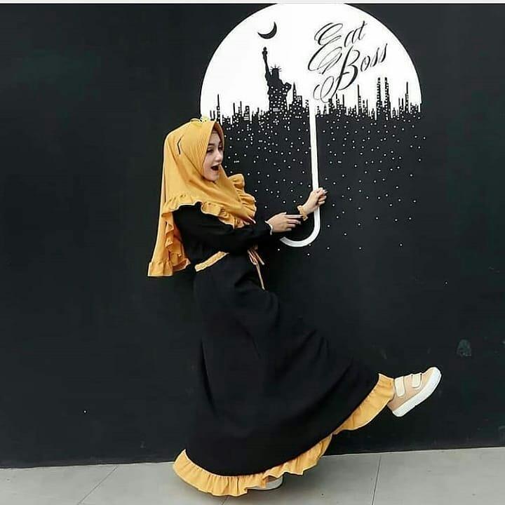 Baju Original Gamis Arsyila Dress Baju Panjang Muslim Casual Wanita Pakaian Hijab Modern Modis Trendy Terbaru