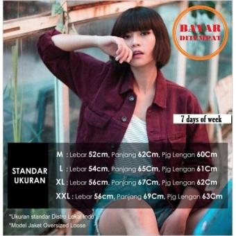 Penjualan 7dayofweek - jaket jeans wanita oversize maroon / bergundy ( oldskull) terbaik murah - Hanya Rp94.643