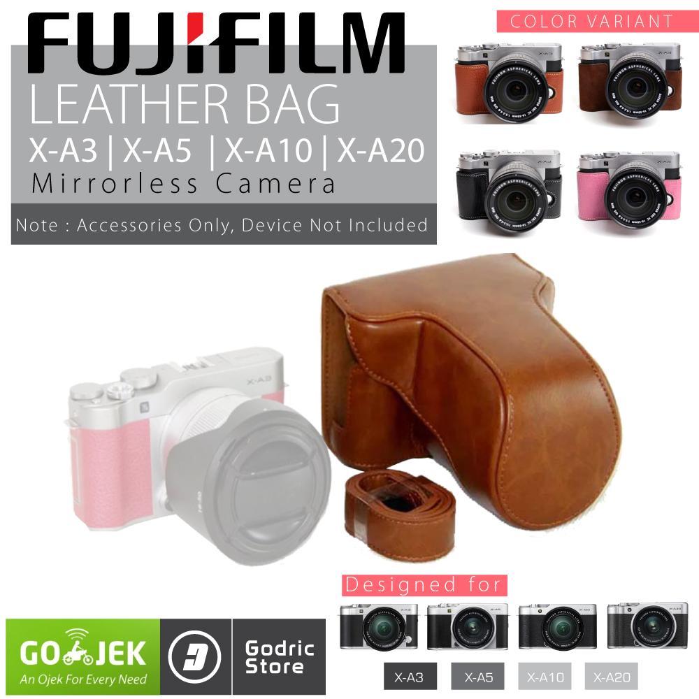 Fujifilm X-A3 / X-A5 / X-A10 / X-A20 / XA3 / XA5 / XA10 / XA20 Leather Bag / Case / Tas Kulit Kamera Mirrorless - Coklat Muda