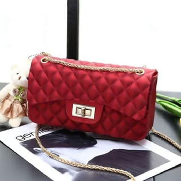 Terlaris - Tas Chanel Classic Mini Jelly Matte Channel Import 22Cm - Merah  - ready stock e6c37afdd6
