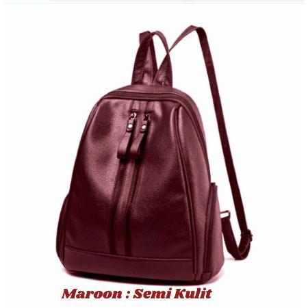 Ransel Zipper Tas Resleting Double Backpack Casual Simple Taiga Elegan Tas Punggung wanita .