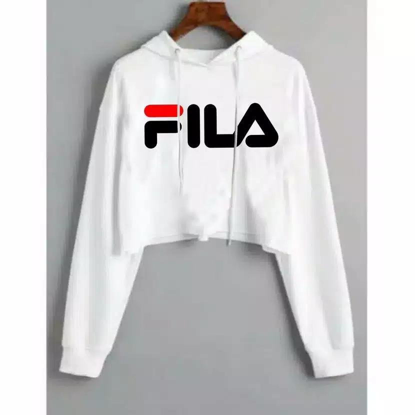 Fashion Sweater Wanita Crop Hoodie Simple FILA Best S - putih