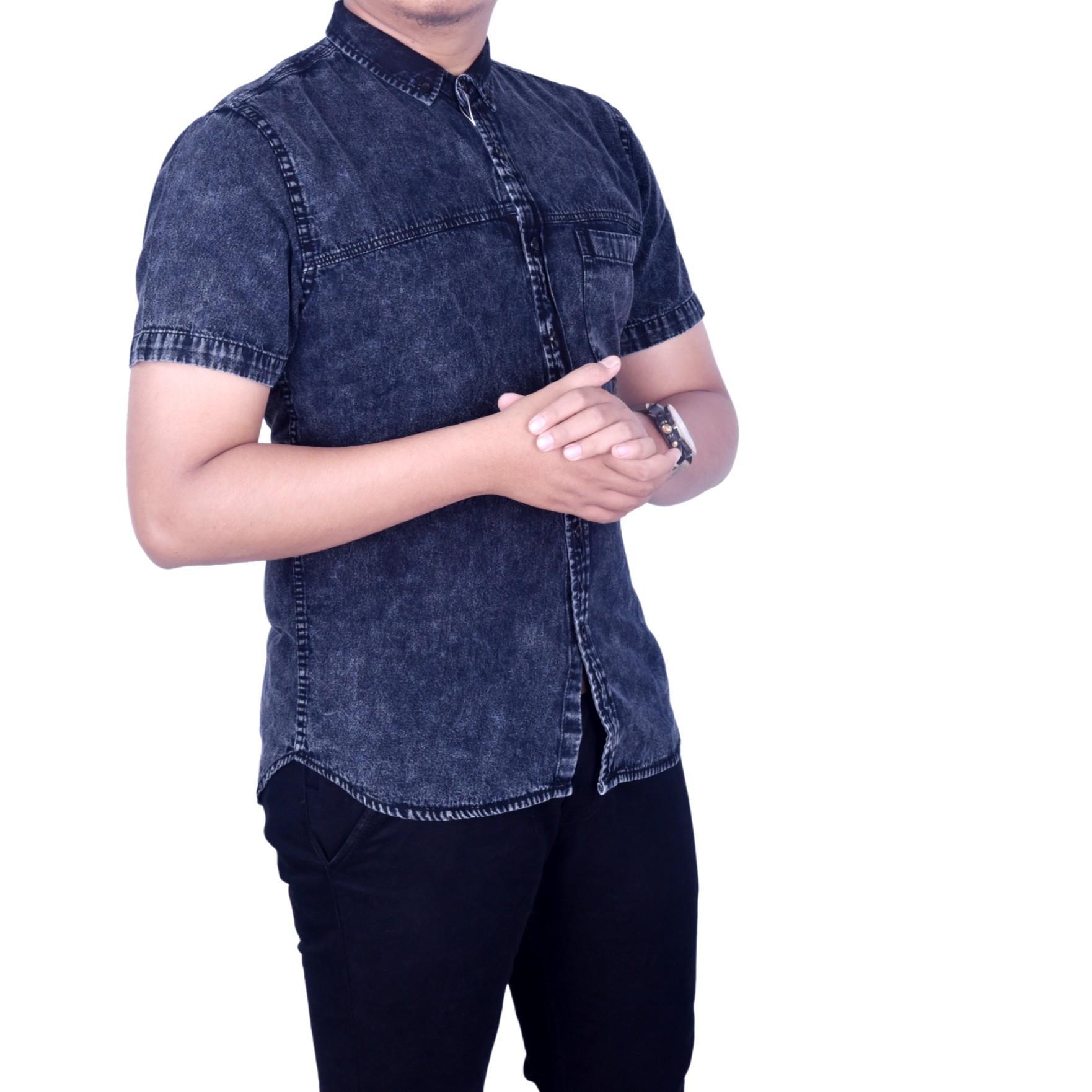 Dgm_Fashion1 Kemeja Pria Jeans Hitam Lengan Pendek /Kemeja Polos/Kemeja Batik/Kemeja Casual/Kemeja