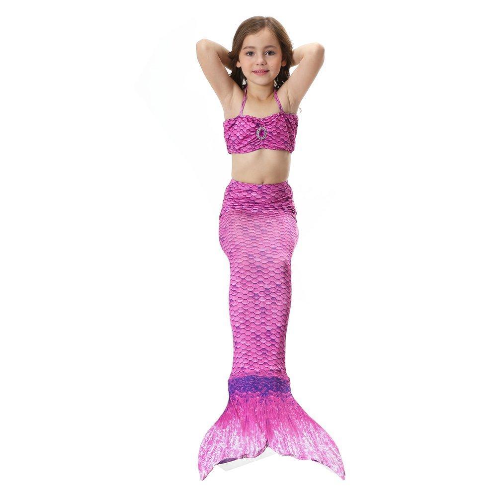 3PCS Kids Mermaid Shape Floral Print Swimsuit Set with Panty Halter Vest Bra