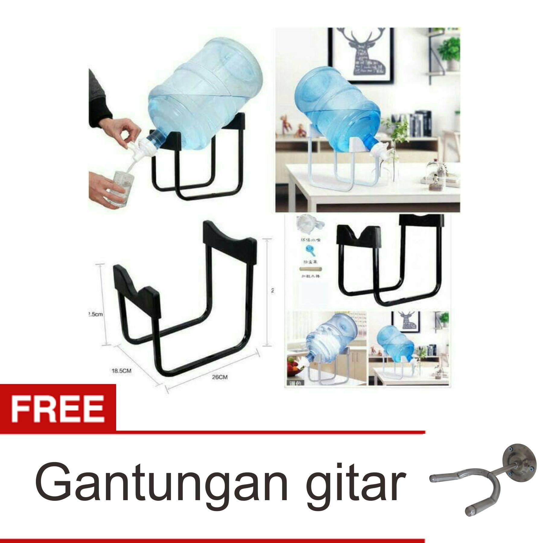 Lanjarjaya Rak Galon Tatakan Galon + Kran Air Galon / Dispenser Air Galon / Dispenser Minuman / Tatakan Aqua / Rak Besi Warna Random + Gantungan Gitar