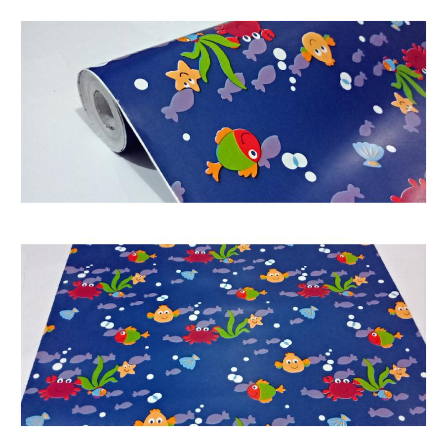 Grosir murah wallpaper sticker dinding kamar ruang indah bagus cantik elegan kartun anak biru dongker nuansa laut