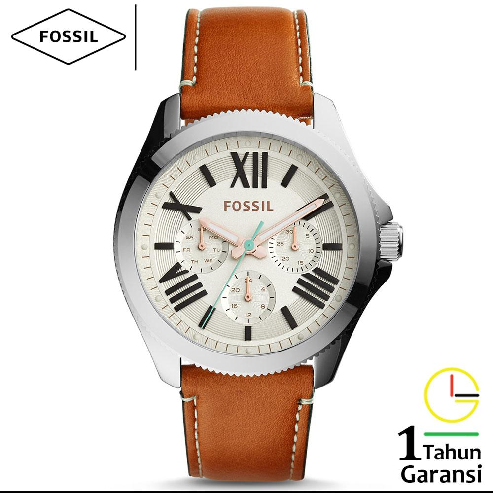 Buy Sell Cheapest Fossil Am4638 Best Quality Product Deals Jam Wanita Tali Kulit Leather Quartz Multifunction Cecile Collection Original Krim Coklat Brown Silver