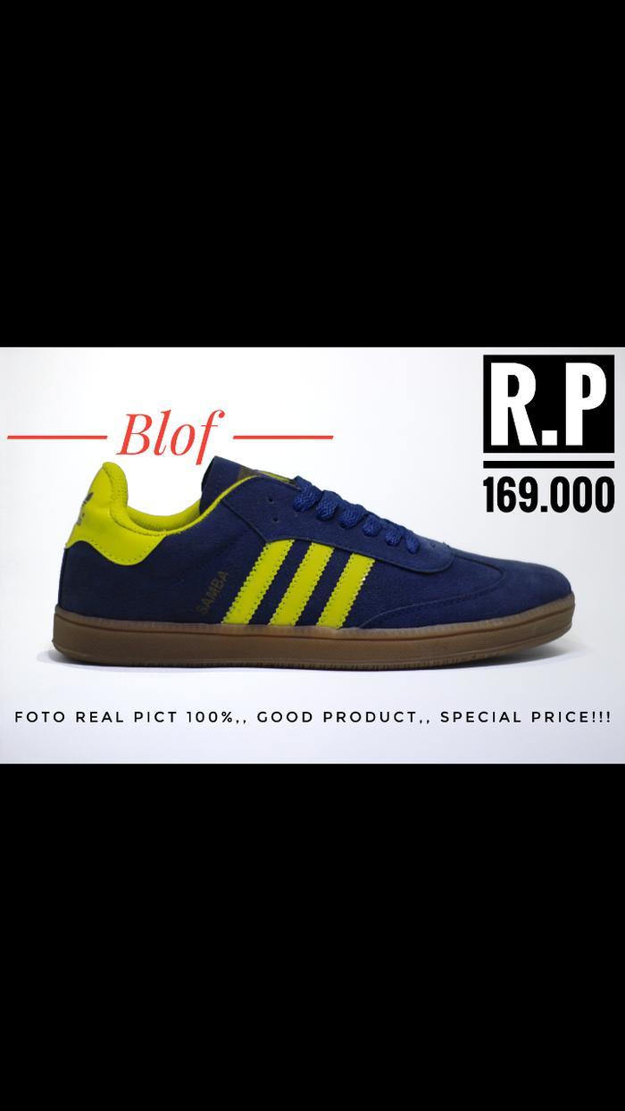 PROMO!!! Sepatu Adidas Samba Classic Navy List Kuning Sol Gum For Men F