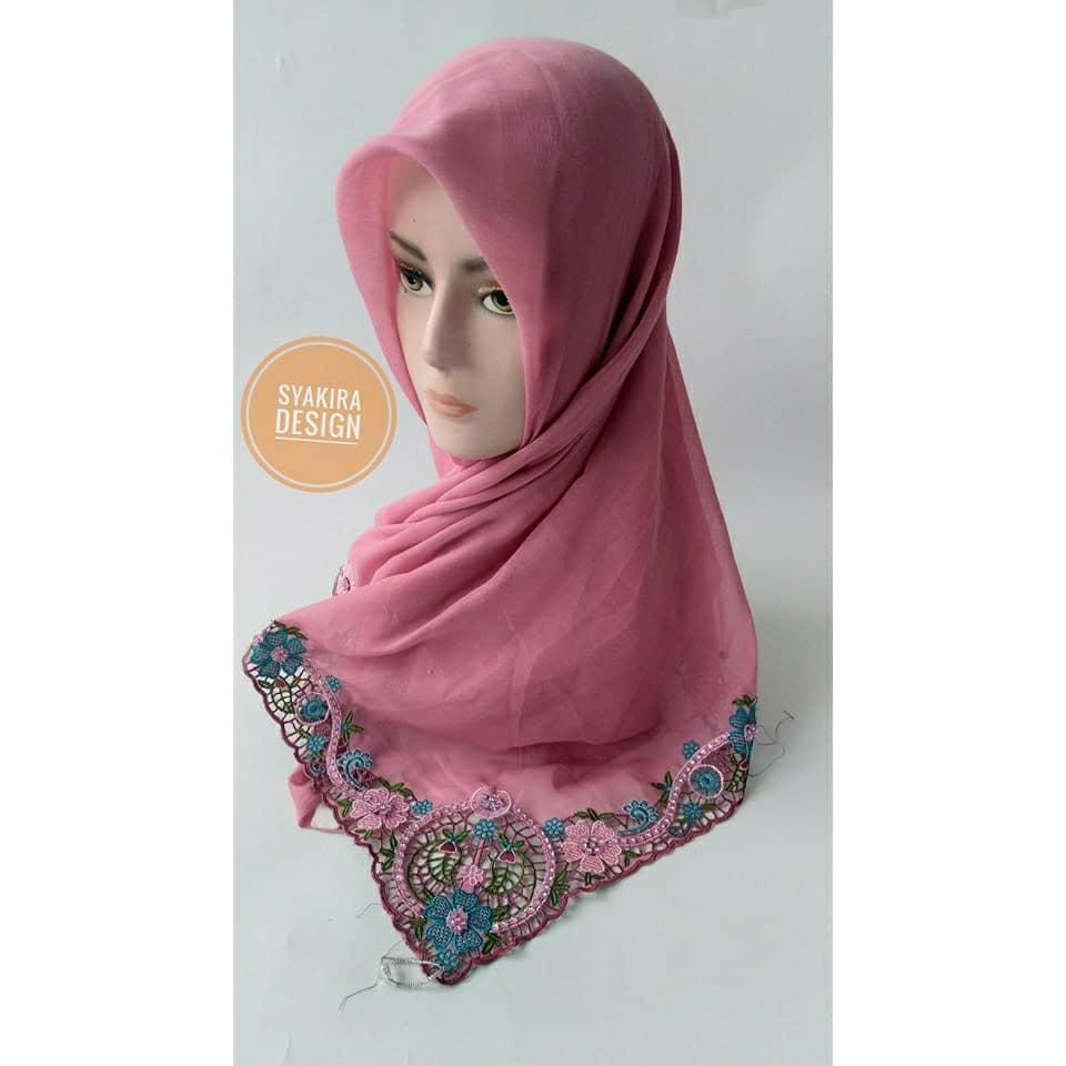 Jilbab Bordir Khas Bukittinggi Pink Fanta