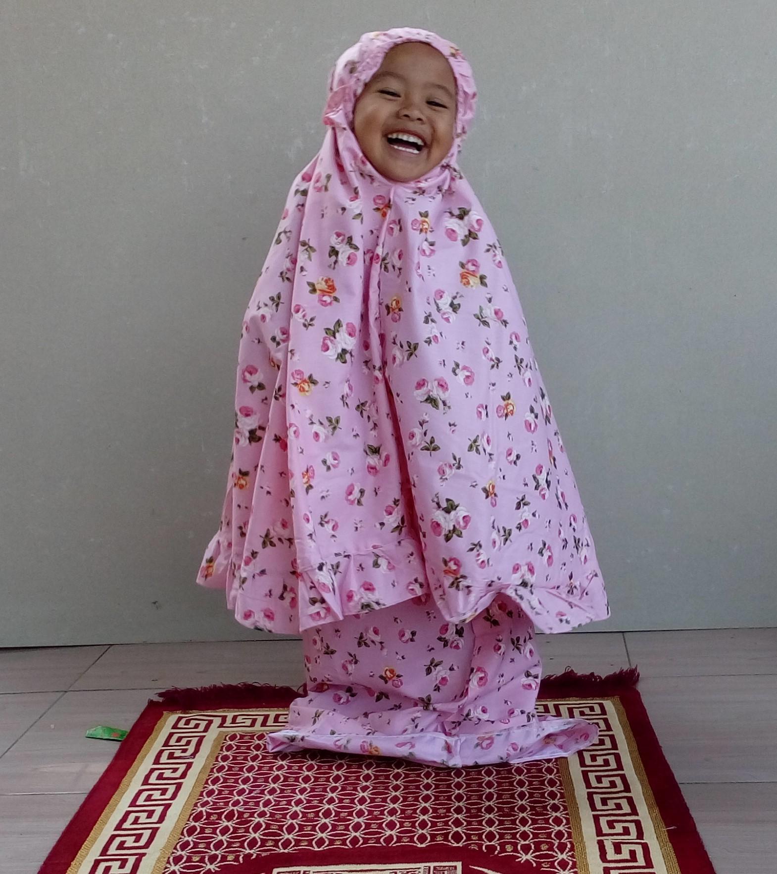 aly mukena anak motif bunga pink uk 3-4 tahun