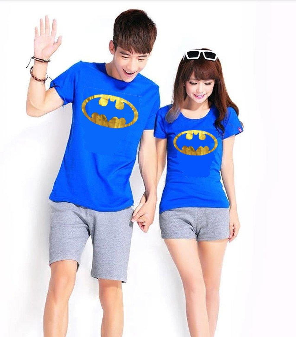 KAOS COUPLE BATMAN GOLD FOIL (BIRU) di lapak COUPLE GROSIR couplegrosir