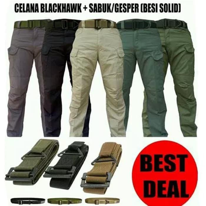 TERLARIS - Paket Celana Panjang Blackhawk Tactical dan Sabuk Gesper Besi impor TERMURAH