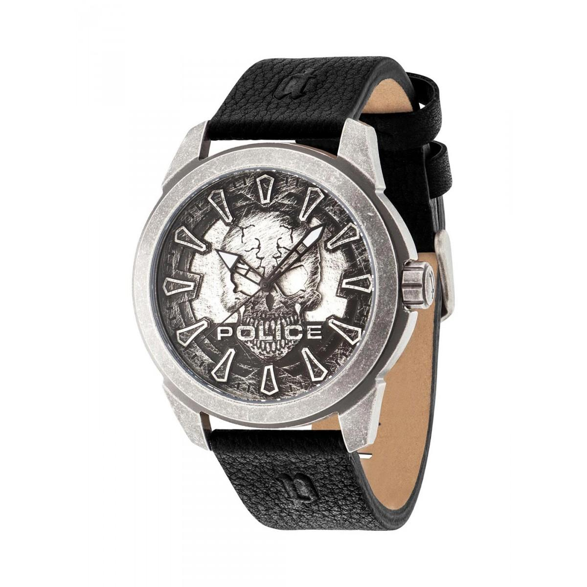 Police PL.14637JSQS 57A - Skeleton Black Leather Strap - Jam Tangan Pria aef14d9193