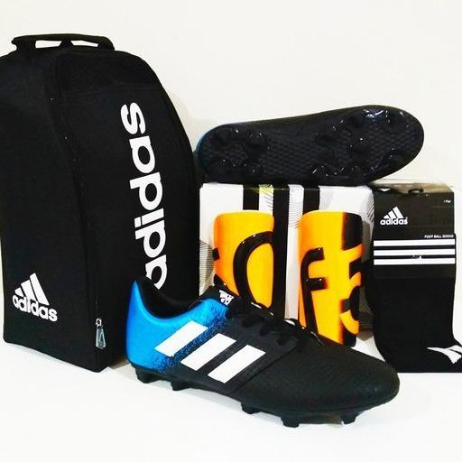 Sepatu Bola Ace18 Black Blue FG (Sepatu + Kaus Kaki + Tas Sepatu + Deker)