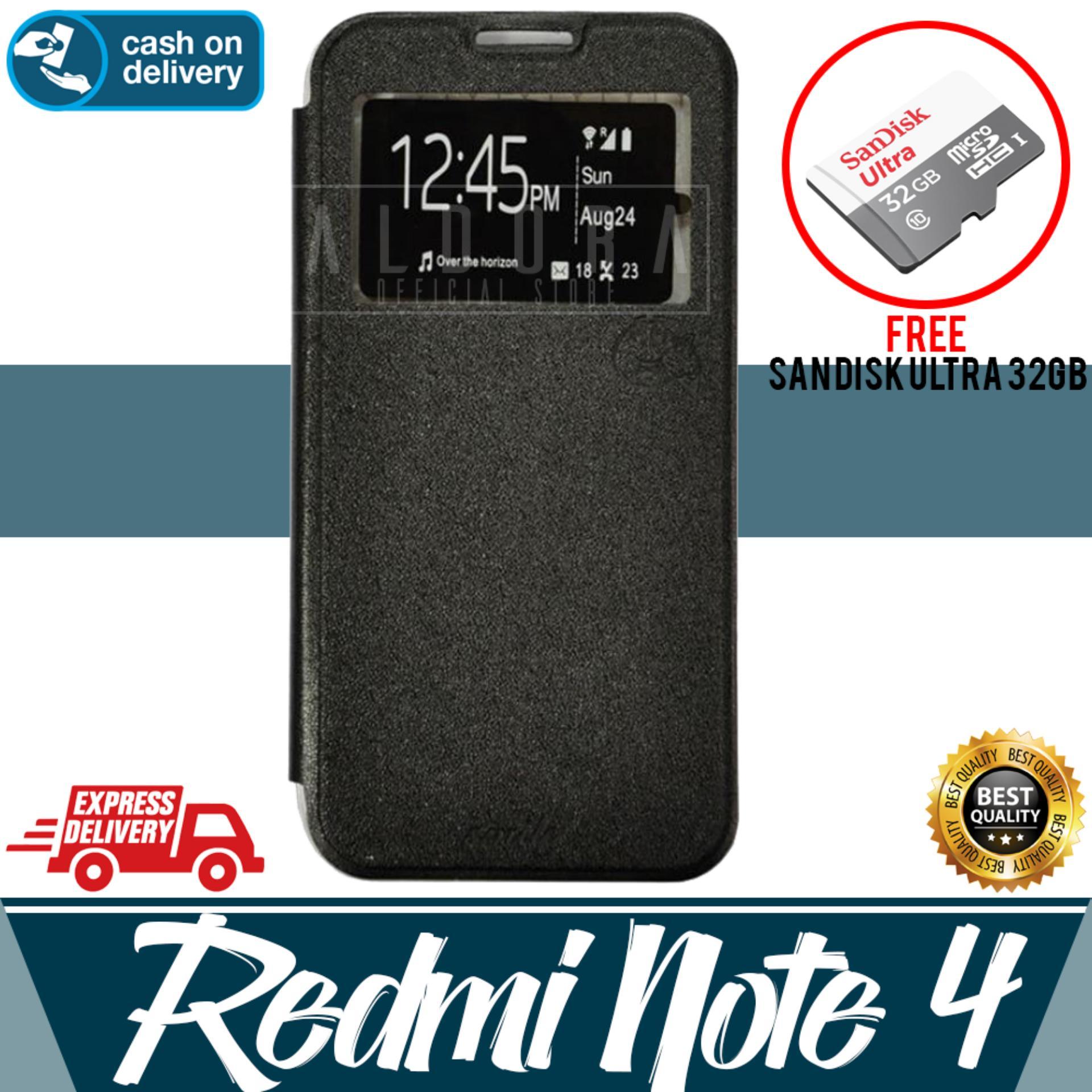 Aldora Case For Xiaomi Redmi Note 4X (Mediatek & SnapDragon) Flip Cover Case Dengan Pelindung Layar Smile Series - Hitam Free Memory Card SanDisk 32GB