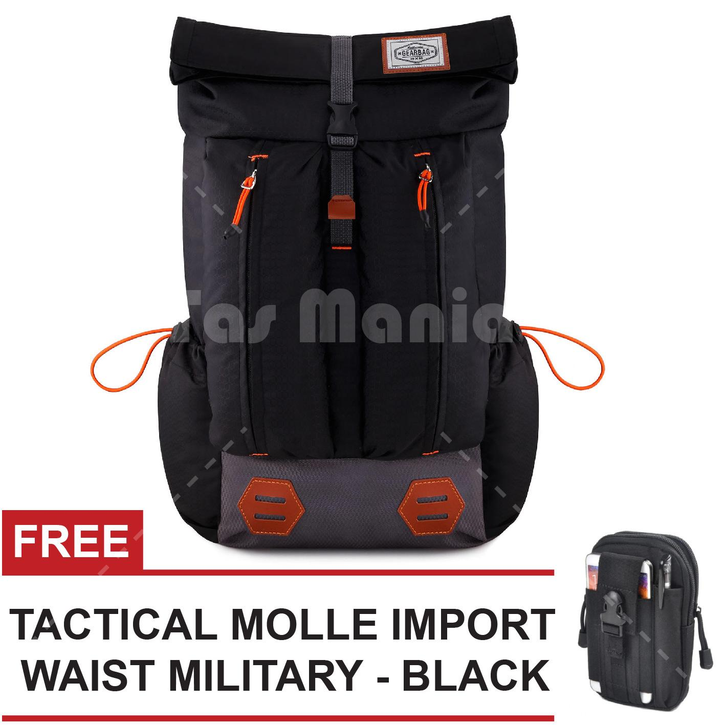 Tas Ransel Pria Gear Bag Mount Everest - Adventure Tas Laptop Backpack - Jet Black + FREE Tas Selempang Tactical Molle IMPORT Waist  Military Promo Murah Kantor Kuliah Tas Gunung Hiking Eiger Rei Consina North Face Deuter Termurah Terlaris Best Seller
