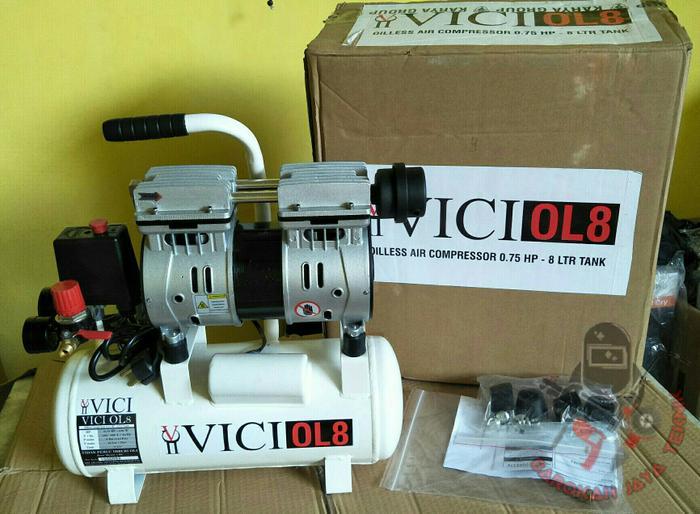 Promo Mesin kompresor angin silent oilless 3/4hp VICI OL-8 Original