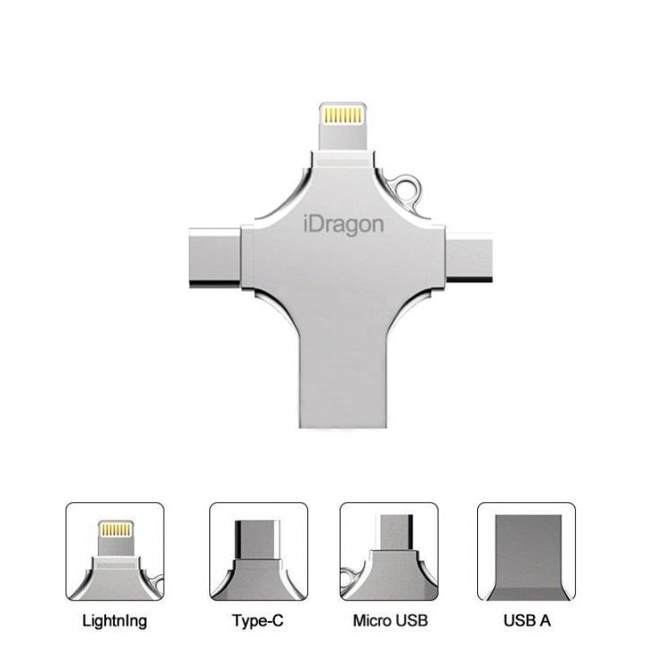 64Gb 4 In 1 Flash Drive Metal Micro USB Fat32 Exfat Ori