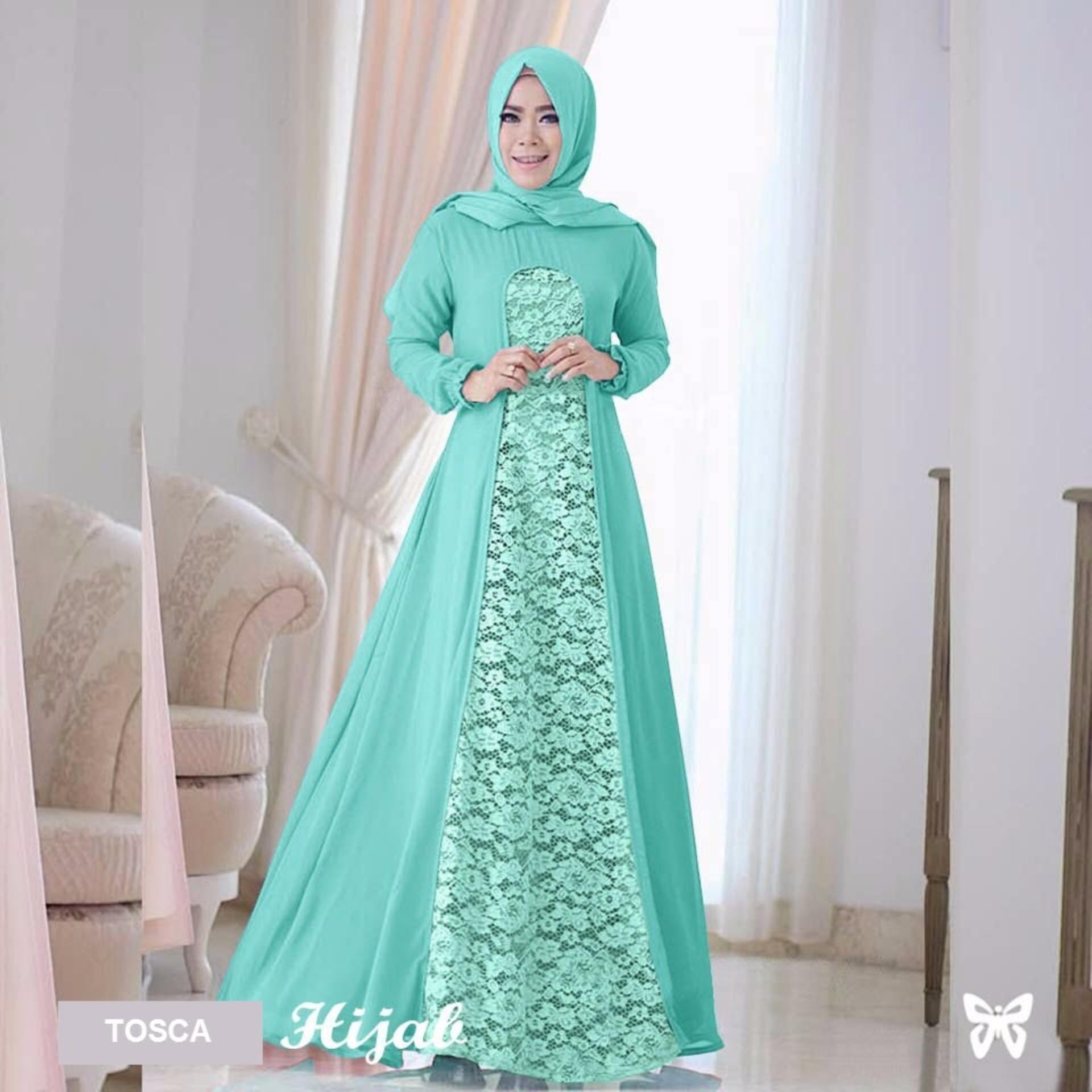 Maxi Dress Lengan Panjang Set 2 in 1 MSR057 / Gamis Syari / Gaun Pesta Muslimah / Baju Muslim Wanita Syar'i / Hijab Jilbab Pashmina / Srrayta