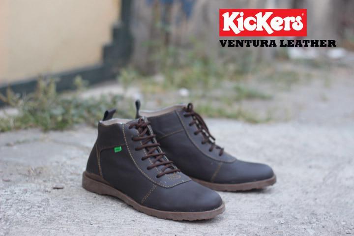 Terlaris Sepatu Boots Kickers Ventura Coklat Tua Kulit Asli Best Seller Diskon