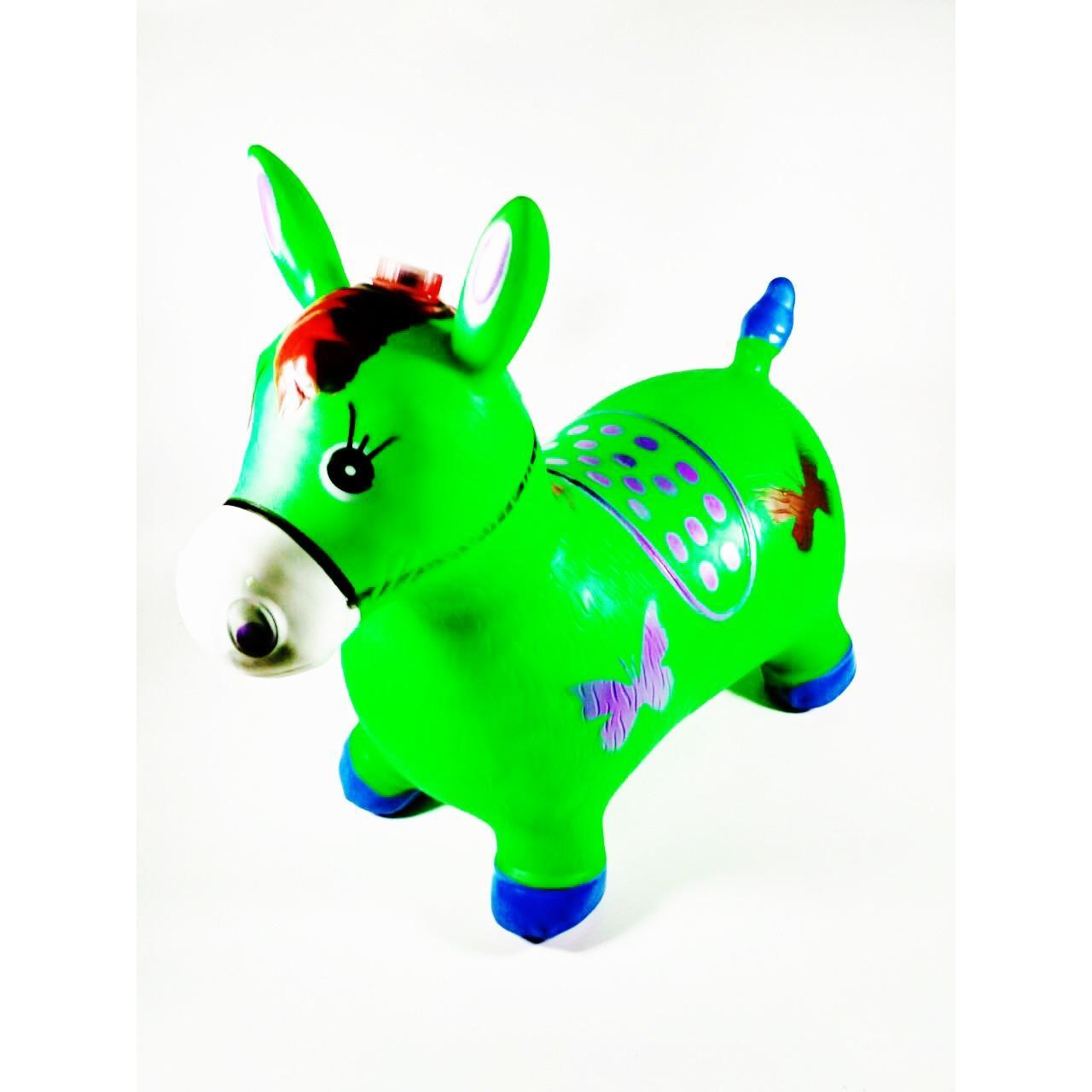 Toys Jumping Animal Music Hijau / Mainan Tunggang Karet Kambing/sapi/kuda/rusa By Toys Festival.