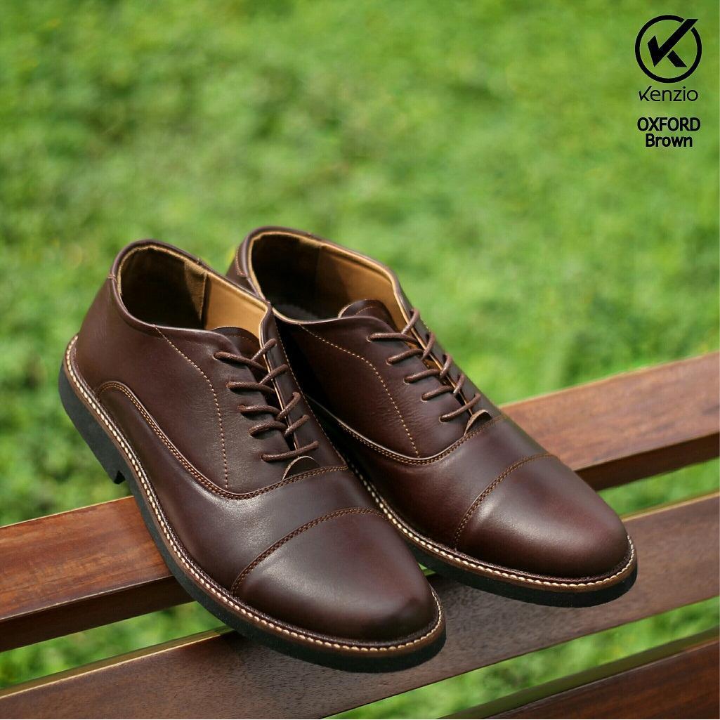 Sepatu Formal Branded Kulit Asli Pria Casual - KENZIO OXFORD - Brown